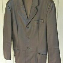 Emporio Armani Mens Black Leather Jacket Coat Size Small  Photo
