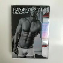Emporio Armani Men's Boxer Briefs Size L Pack of 3 White Red Navy Photo