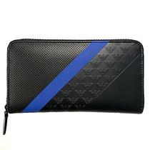 Emporio Armani Mens Long Zip Around Logo Stripe Wallet Black Blue (Msrp 295) Photo