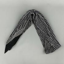 Emporio Armani Navy & White Pleated Silk Scarf Photo