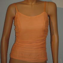 Emporio Armani New Orange Chiffon Top Sz Small With Tags  Photo