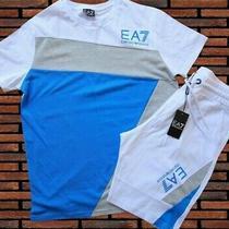 Emporio Armani Tracksuit Blue White Summer Crew Neck Top  Shorts Mens  Photo