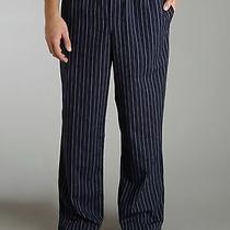 Emporio Armani Underwear Pajama Stripe Logo Banded Navy Pants Cotton S Free Ship Photo