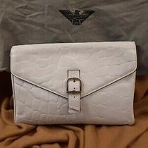 Emporio Armani White Leather Clutch 12