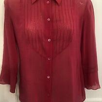 Emporio Armani Womens Cotton Silk Bright Cerise Pink Shirt Blouse - It 38 Uk 6/8 Photo