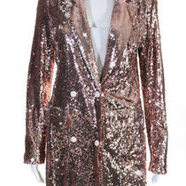Endless Rose Womens Sequin Double Breasted Blazer  Rose Gold Tone Size Small Photo