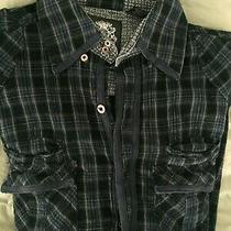English Laundry Mens M Shirt Black Blaque Label Button Front Photo