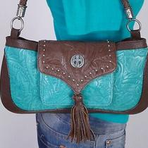 Enmon Small to Med Teal Brown Leather Shoulder Hobo Tote Satchel Purse Bag Photo