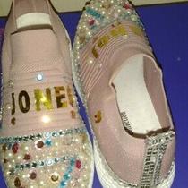 Enoj Blush Custom Handmade Low Sock Bling Shoe. Photo