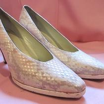 Enrico Gerbi Sz 7 Narrow Leather Python Heels Shoes Pumps Blush Pink Tan Ivory Photo