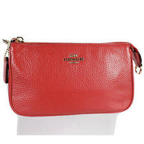Entrupy Authenticated Coach Red Pebbled Leather Women's Clutch Pouch Photo