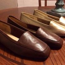 Enzo Angiolini  2 Pair Leather Flats Loafers Moccasins Brown/gold Sz 7w New Photo