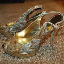Enzo Angiolini Eastarlite Gold Silver 5 Stiletto Heels Peep-Toe (8m) Photo