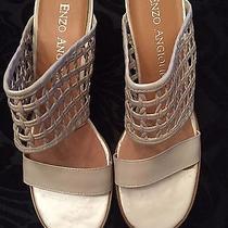 Enzo Angiolini High Heel Sandal Pearlized White Ivory 9m Nwb  Photo