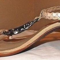 Enzo Angiolini  Leather Sandals Beige & Mother of Pearl  6.5 Med Euc Photo