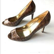 Enzo Angiolini Light Brown Croc Open Toe Leather Pump Heels Women's Size 9 Photo