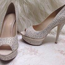 Enzo Angiolini Silver Crystal Blush Wedding Heels Shoes Size 5.5 Us Photo