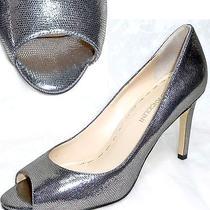 Enzo Angiolini Silver Pewter Metallic Leather Open Toe Shoes Stiletto Heels 7 7m Photo