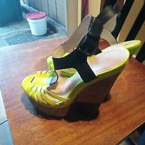 Enzo Angiolini Womens 7 Neon Yellow Strappy Open Toe Wedges Photo