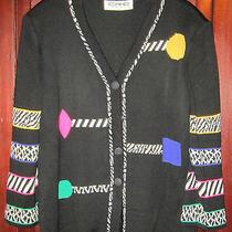 Eric Steven L Xl Cardigan Sweater Button Down Black Geometric v-Neck Knit Jacket Photo