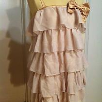 Erin Fetherston Gold Satin & Tiered Holiday Cocktail Party Dress 9 Photo