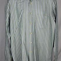 Ermenegildo Zegna 100% Cotton Green Blue Check Button Down Dress Shirt Xxl E14 Photo