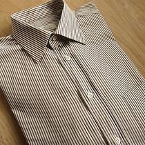 Ermenegildo Zegna 100% Cotton Mens Solid Stripe Shirt Size 15 Photo