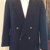 Ermenegildo Zegna Double Breasted Black Wool Blazer Mother Pearl Btns 42 44 L Photo