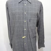 Ermenegildo Zegna Gray Windowpane Brushed Cotton Long-Sleeve Shirt Mens L Photo