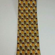 Ermenegildo Zegna Italy Gold Red Artwork Exclusive Design 100% Silk Neck Tie  Photo