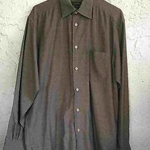 Ermenegildo Zegna Italy Shirt Brown Cotton Long Sleeve Mens Sz M Photo