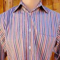 Ermenegildo Zegna Medium Dress Casual Shirt Embroidered Strips Gorgeous Photo
