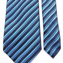 Ermenegildo Zegna Mens 100% Silk Neck Tie Navy Aqua Blue Stripe Made in Italy Photo
