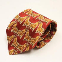 Ermenegildo Zegna Mens Abrstract Red Bronze Chairs Pure Silk Tie Italy Made Cco Photo