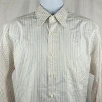 Ermenegildo Zegna Mens L/s Button Dress Shirt Large White Orange Striped Cotton Photo