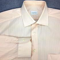 Ermenegildo Zegna Peach Light Orange Dress Shirt 41 16 Spread Collar Stripe Photo