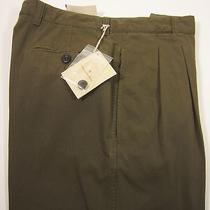 Ermenegildo Zegna Pleated Casual Pant 100% Cott. Made in Italy Olive 34wx38l Nwt Photo