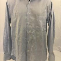 Ermenegildo Zegna Size 16.5 36/37 Blue Luxury Dress Shirt Men's Xl Point Collar Photo
