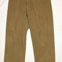 Ermenegildo Zegna Soft Mens Beige Corduroy Flat Front Pants 38x31 Photo