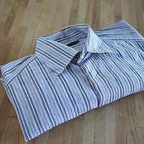 Ermenegildo Zegna Sport Blue White Lavender Stripe Dress Shirt - Bespoke 15x34 Photo