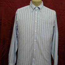 Ermenegildo Zegna Sport Mens Dress Shirt Sz M Aqua/navy Blue Striped  Excellent Photo