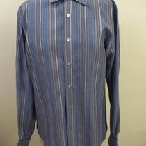 Ermenegildo Zegna Varied Hue Blue Striped City Dress Shirt 41 16 Photo