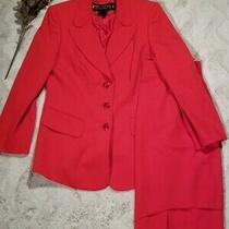 Escada 100% Pure New Wool Red 3 Button Blazer Skirt Suit Size 40 Photo