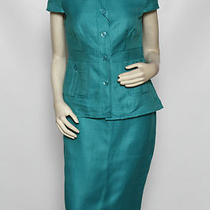 Escada 2 Pc Aqua Turquoise Blue Skirt Suit Empire Jacket Sz 38 Us 8 Nwt 1840 Photo