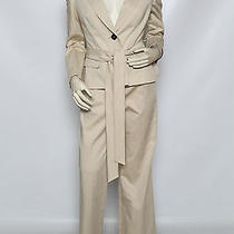 Escada 2 Pc Beige Khaki Dressy Pants Suit Jacket Blazer Sz 38 Us 8 Nwt 2550 Photo