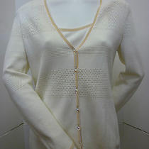 Escada 2pc Cardigan Sweater Tank Top Blouse Shirt Knit Ivory Cream Multi Size 6 Photo