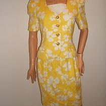 Escada 36 4 Sexy Yellow Floral White Texture Dress Jacket Vintage 80's  Suit Photo