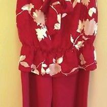 Escada 3pc Pant Suit Set Silk Shell Top Scarf & Pants Red White 40 42 10 12 M  Photo
