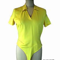 Escada 40 8 Nwt 250 Polo Bodysuit Yellow Gr8 4 Golf Country Club Photo