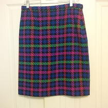Escada 42 Us 12 L Pink Purple Green 100% Wool Plaid Skirt Lined Bright Colorful Photo